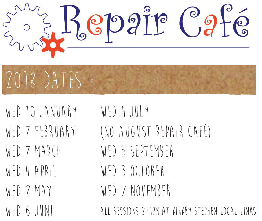 Kirkby Stephen Repair Cafes 2018